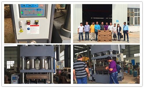 India customer visit wood pallet making machine