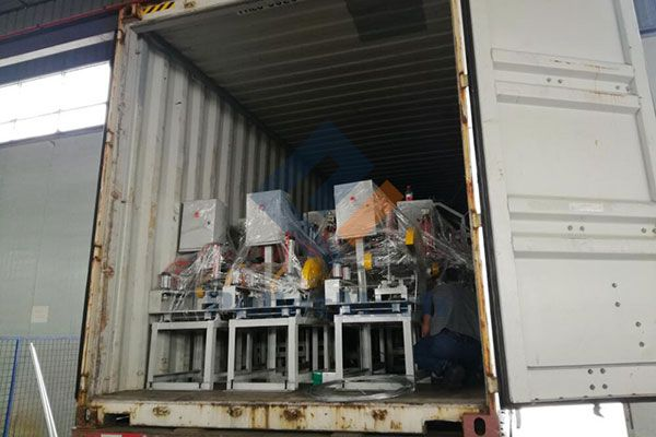 Automatic pallet blocks production line shipment to Romania