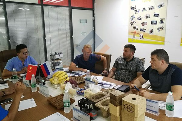 Russia customer visit hot press wood pallet project