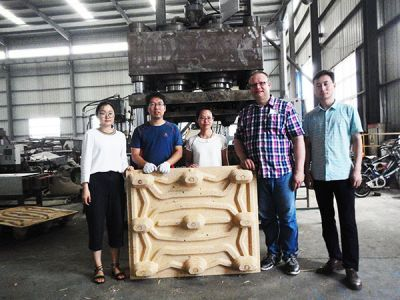 Finnish Customer came to test presswood pallet machine in July, 2017