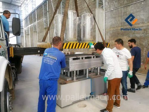 installation of pressed wood pallet machine