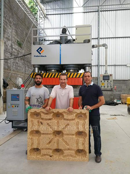 molded wood pallet machine